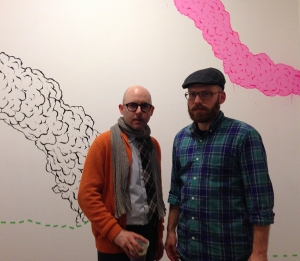 Jason Varone & Michael Konrad in front of Jason's wall painting.