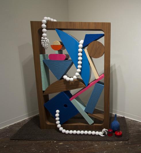 Chris Bogia, The Decorator, wood, steel, yarn, veneer, grass cloth wallpaper, house paint, lacquer, jute rug, vases