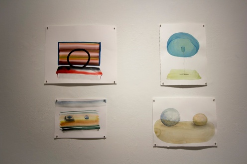 clockwise from top left: Cycle, 2016; Offer, 2017; Mentor, 2017; Negotiation, 2018, watercolor on paper, Skirmantas Pipas